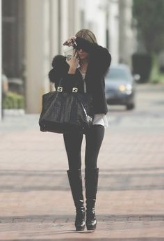 yes, yes  yes... black jacket, black bag, black boots....