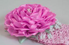 Headband with kanzashi rose flower pink flower por myflowersshop