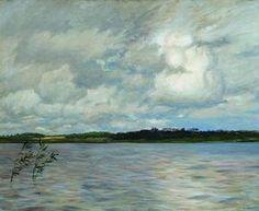 lac gris JOUR, 1895 de Isaac Levitan (1860-1900, Lithuania)