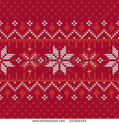 Christmas knitting seamless pattern with nordic motifs in Red and White. Perfect for wallpaper, wrapping paper, pattern fills, winter greetings, Christmas and New Year greeting cards