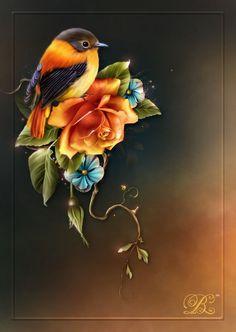 """"""" jolies surprises """" (B. Tole Painting, Watercolor Paintings, Pretty Pictures, Art Pictures, Beautiful Birds, Animals Beautiful, Molduras Vintage, Art Et Nature, Art Design"""