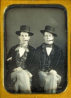 Portrait of James Rossi and William Bennett, equestrian performers. Date unknown. Quarter Plate. Harvard Theatre Collection.
