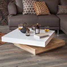 Table basse Emblaze - Blanc brillant / Imitation chêne de Sonoma clair | home24.fr