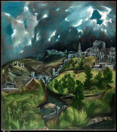 Vista de Toledo - 1598–99 - El Greco  - The Metropolitan Museum of Art  (um texto um pouco comprido, mas muito bem escrito)   Não é apenas  um céu ..  As pinturas de paisagem são muitas vezes feitas para documentar a vista de um determinado momento em um determinado lugar, para congelar um momento único e preservá-lo para a eternidade.   A vista de El Greco de Toledo não faz isso. Embora a grande igreja esteja colocada no lugar correto na cidade, El Greco mudou os locais de vários outros…
