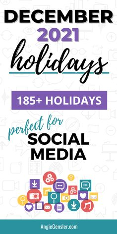 Keep your social media feed fresh with this massive list of holidays for December 2021. Discover fun, weird, and special days to celebrate on social media and create engaging content. #AngieGensler #SocialMedia #Holidays Online Marketing, Social Media Marketing, Digital Marketing, Business Marketing, Business Tips, Marketing Ideas, Affiliate Marketing, Facebook Marketing, Marketing Strategies