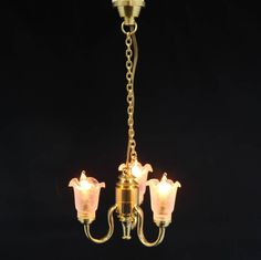 Dolls House Miniature Chandelier With Pink Light Shades