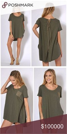 Olive hi lo tunic with pocket and tie back detail! Solid Round Neck Top with Lace Up Detail on Back- adorable fit - scoop outlines neck and pocket with tie back detail💕 Tops Tunics