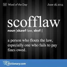 Scofflaw (n) .a person who flouts the law, especially one who fails to pay fines owed The Words, Fancy Words, Weird Words, Words To Use, Pretty Words, Cool Words, Foreign Words, Dictionary Words, Unusual Words