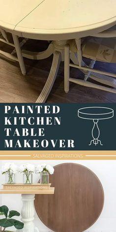 Refurbished Kitchen Tables, Refinishing Kitchen Tables, Refinished Table, Painted Kitchen Tables, Dining Table Makeover, Kitchen Table Makeover, Kitchen Paint, Painted Round Tables, Round Kitchen Tables