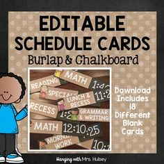 Editable Chalkboard and Burlap Schedule Cards by Hanging with Mrs Hulsey | Teachers Pay Teachers