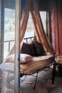 A restful Bohemian spot. http://blessedwildapplegirl.tumblr.com/page/21