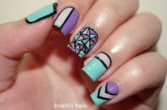 ErinZis Nails - this is such a great mani. Love that stained glass nail! And great color combo <3