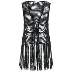 TOPSHOP **Fringe Crochet Waistcoat by Glamorous ($19) ❤ liked on Polyvore featuring outerwear, vests, tops, jackets, black, macrame vest, crochet vest, open front vest, cotton vest and waistcoat vest