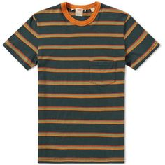Levi's Vintage Clothing 1960s Casual Stripe Tee (€56) ❤ liked on Polyvore featuring tops, t-shirts, green tee, crewneck tee, vintage striped t shirt, green top and cotton t shirts