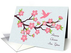 Chinese New Year, Pink Blossoms and Hummingbird card by Liz Van Steenburgh