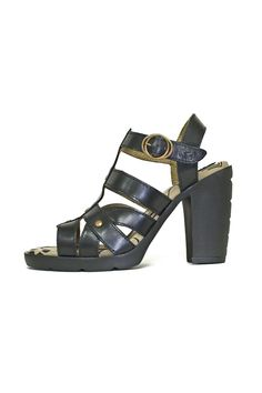 """Sassy and sexy black sandal for those hot summer days and nights! Brass rivet studs stand out against the smooth leather of this strappy sandal.  The 3"""" heel and 1"""" platform is well balanced by a foam cushioned footbed.  Show stopper! Black Leather Sandal by Fly London. Shoes - Sandals - Heeled Canada"""