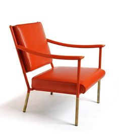 The Crillon Chair from Soane Britain. Inspired by a Mid-Century French design. Manufactured in solid steel by Dorset engineers and upholstered in London using the client's choice of hand-stitched Soane in-house Leathers. Brass 'socks' and caps, covering the steel frame, complete the look, with the option of an alternative Soane standard Metal Finish.
