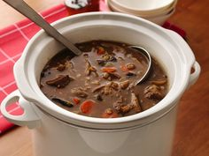 Slow Cooker Beefy Wild Mushroom and Barley Soup (8-10 hrs)