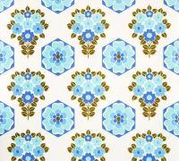 Retro wallpaper, blue flowers. Seen on retrovilla.dk