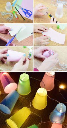 DIY tutorial girlanda świetlna z kubków jednorazowych łańcuch świetlny blog