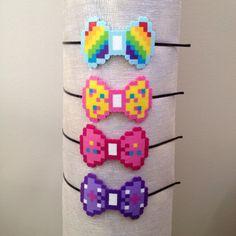 8-bit My Little Pony Rainbow Dash, Fluttershy, Pinky Pie, Twilight Sparkle Character Pixel Art Bow Headbands, Barettes or Bow Tie Pins