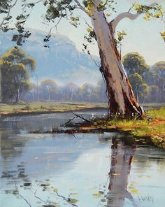 Watercolor Landscape Paintings, Watercolor Trees, Watercolour, Fantasy Landscape, Landscape Art, Art Pictures, Art Images, Australian Painting, Tree Artwork