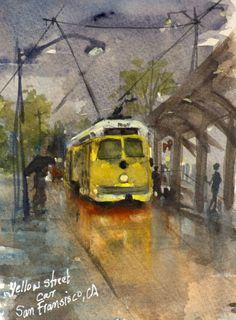 Yellow street car. Francisco, Sketches, Watercolor, Painting, Art, Gouache Art, Gouache