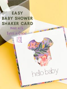 Create a perfect handmade baby shower card for your next loved one's life-changing event. Use your Cricut Maker to create this cute baby shaker card. Paper Folding Crafts, Diy Paper, Baby Shower Cards, Baby Cards, Baby Outfits, Baby Shower Announcement, Cricut Tutorials, Cricut Ideas, Simple Baby Shower