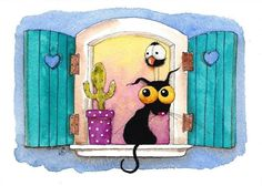 Original watercolor art painting Stressie Cat bird crow window shutters cactus #IllustrationArt