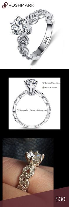 (Size 6) leaf wedding ring 2 Carat Zirconia Wedding Engagement Rings For Women Stamps 925 silver Fashion Jewelry Female Ring Bijoux Bague Jewelry Rings