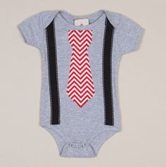 Red Chevron Tie with Suspenders on Light Blue Baby Body Suit - Million Polkadot Kids - Events