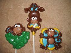 1 chocolate jungle safari animal mod monkey love lollipops lollipop | sapphirechocolates - Edibles on ArtFire