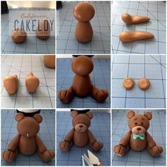 How to make a fondant teddy bearTutorial - how to make cute Teddy bear fondant cake topper for cakes, cupcakes, birthday party, christening, baptismTutorial de osito con pastas moldeables Delicious Cake for youFimo y fondantThis is made from sugar but I w Fondant Cake Toppers, Fondant Cupcakes, Fondant Figures, Rose En Fondant, Fondant Baby, Cake Topper Tutorial, Fondant Tutorial, Cake Decorating Techniques, Cake Decorating Tutorials