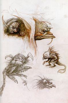 Brian Froud - Labyrinth Brian Froud, Mythological Creatures, Fantasy Creatures, Illustration Essay, Jim Henson Labyrinth, Fairy Art, Horror Art, Creature Design, Larp