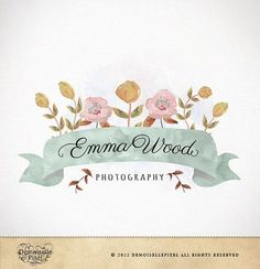 Custom hand lettered and watercolored logo design, dreamy! Logo Design Custom Premade Watercolor Flowers by Demoisellepixel, $39.90