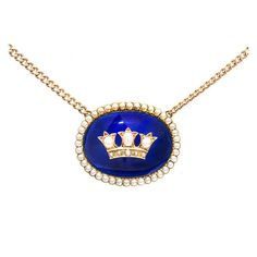 Cobalt Blue Enamel Natural Pearl Gold Pendant  1