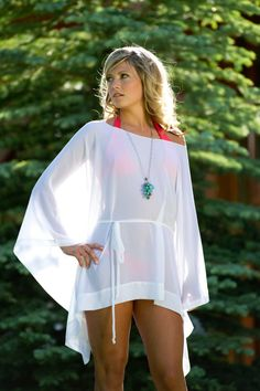 SALE - Short Draped Sheer Coverup with Long Sleeves and Belt, Cover Up on Etsy, $45.00