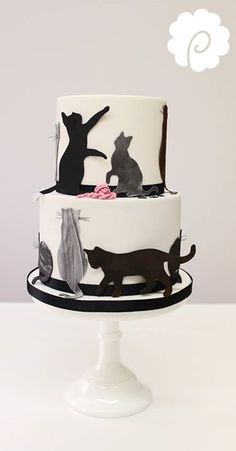 Cat silhouette cake - For all your Cat cake decorating supplies, please visit ww. Fondant Cat, Fondant Cupcakes, Cupcake Cakes, Cat Cupcakes, Birthday Cake For Cat, Themed Birthday Cakes, Themed Cakes, Fancy Cakes, Cute Cakes