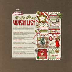 Loving all the attention to detail in this awesome #christmas #wishlist #scrapbook page from Trace at DesignerDigitals.com