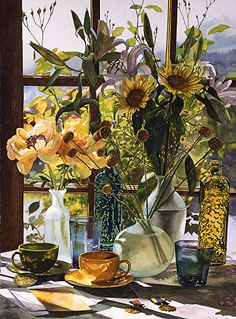 """""""Sunflowers and Coffee"""" by Teri Starkweather  ~ 40"""" x 30"""" watercolor"""