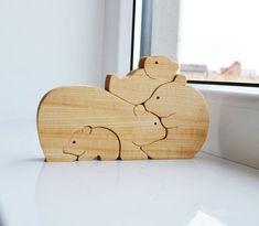 Cadeaux de Noël pour enfant - bois ours en bois Puzzle ours jouets éducatifs - famille d'ours jouets - animaux puzzle - montessori