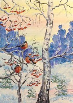 Здравствуйте, жители Страны Мастеров! Поздравляю всех с наступившим Новым годом и с наступающим Рождеством! Желаю здоровья, успехов во всех делах и начинаниях и конечно, неиссякаемого творческого вдохновения! Хочу представить очередной свой МК по рисованию зимнего пейзажа, только на этот раз со снегирьками, излюбленными птицами многих, в том числе и меня. Каждый год они прилетают к нам зимовать. Картинку подсмотрела в интернете. Очень надеюсь, что МК будет доступен многим. Пока идут…