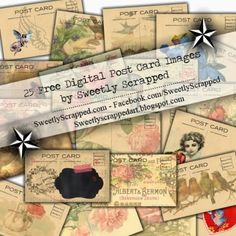 Sweetly Scrapped: 25 Digital Post Card Images