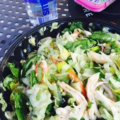post workout salad from subway with my own grilled chicken  I've been trying to drink a gallon of water a day but damn it's hard  haha happy weekend #fitfam I hope you all do something fun!! #fitfam #fitfood #foodisfuel #flexibleeating #flexibledieting #eatclean #eathealthy #eatforabs #cheatclean #iifym #intuitiveeating #healthy #healthyeating #healthyandhappy #postworkout #postworkoutselfie #nofilter #flexing #bodybuilding #healthysnack #healthydinner