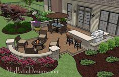 Attractive backyard patio design plans patio for backyard entertaining outdoor fireplaces fire pits My Patio Design, Backyard Patio Designs, Outdoor Kitchen Design, Backyard Projects, Backyard Landscaping, Landscaping Ideas, Backyard Bar, Sloped Backyard, Patio Bar