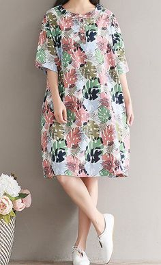 Women loose fitting over plus size retro flower leaves dress linen pocket tunic #Unbranded #dress #Casual