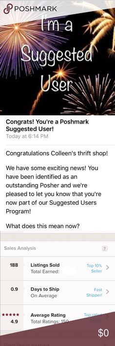 🎉Woo Hoo I'm a Suggested User🎉 I screamed so loud and was running around the house showing everyone my email 🤣 I love Poshmark and couldn't be more honored 💖 Thank you to everyone who has visited my closet 😘 Other