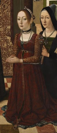 Late 15th century costume ~ Master of the Baroncelli Portraits ~ Saint Catherine of Bologna with Three Donors (detail) ~ 1470-1480
