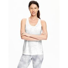 Old Navy Womens Burnout Tank ($5.97) ❤ liked on Polyvore featuring tops, white, print tank, white tank, racer back tank, white racerback tank top and print tank top