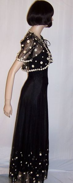 1930's Fanciful Black Net Gown with White Polka Dots & Matching Bolero from Patricia Jon's Finest Exclusively on Ruby Lane